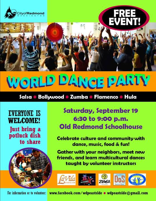 World Dance Party in Redmond on Sept 19